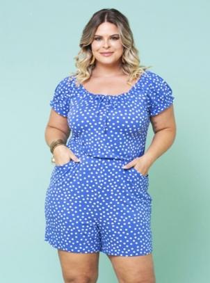Macaquinho Plus Size Azul de Poás