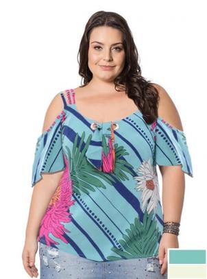 Blusa Plus Size Estampa Floral Verão