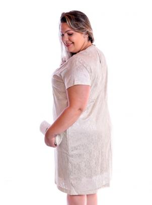 Vestido Plus Size Nude Cetim Com Renda