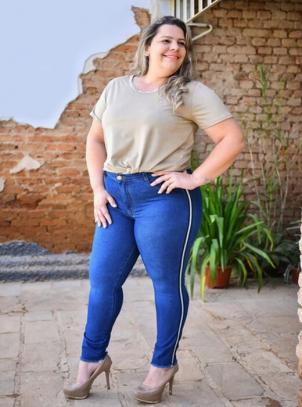 Calça Plus Size Skinny com Galão