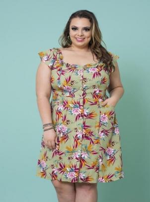 Vestido Plus Size Estampa Floral em Viscose