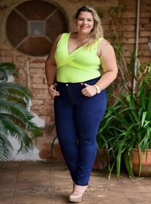 Calça Plus Size Skinny Cós Elástico