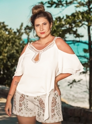 Blusa Plus Size Branca Fashion