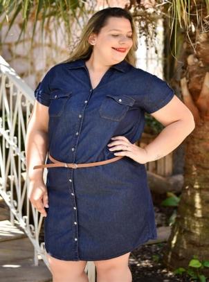 Vestido Jeans Plus Size Chemise com Cinto
