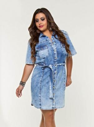 Vestido Plus Size Jeans Chemise