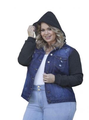 Jaqueta Plus Size Jeans e Moleton