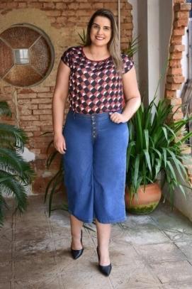 Calça Pantacourt Plus Size Azul Jeans