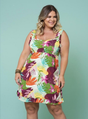 Vestido Plus Size Verde Tropical Mix
