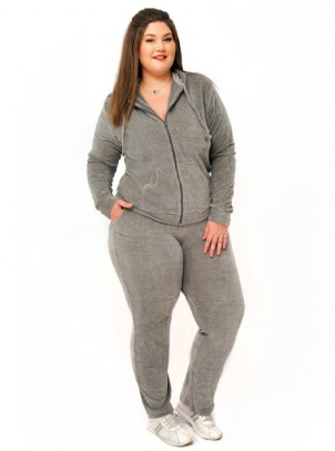 Agasalho Plus Size de Plush Com Touca