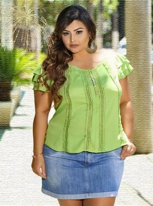 Blusa Plus Size Viscocrepe Romance