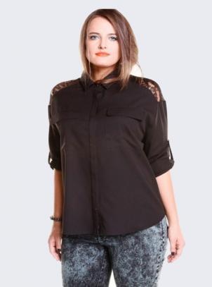 Camisa Plus Size Preta Renda Ombro