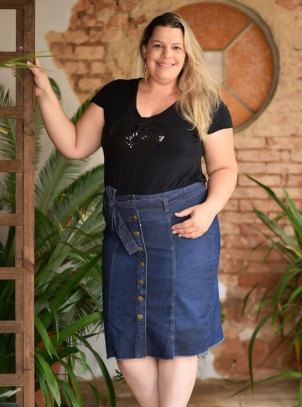 Saia Jeans Plus Size Clochard