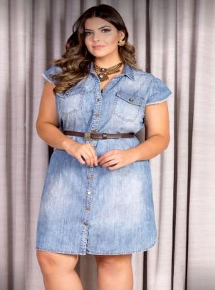 Vestido Plus Size Chemise Jeans