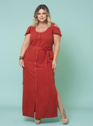 Vestido Longo Plus Size Sarja Ciganinha