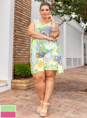 Bermuda Plus Size Estampada Viscose