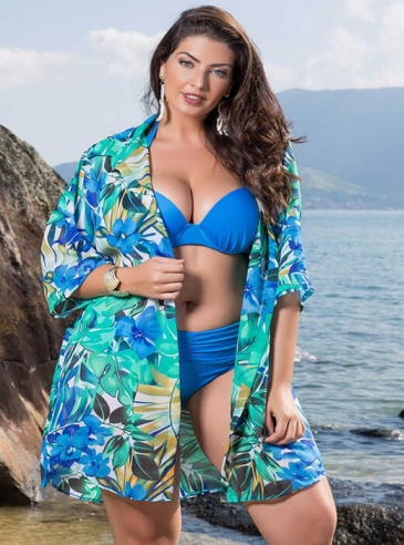 Saída de Praia Plus Size Floral Azul