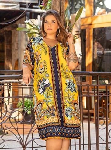 Vestido Plus Size Amarelo Estampa Lenço