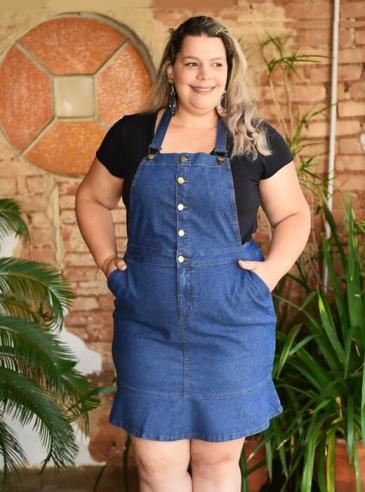 Salopete Plus Size Jeans Peplum
