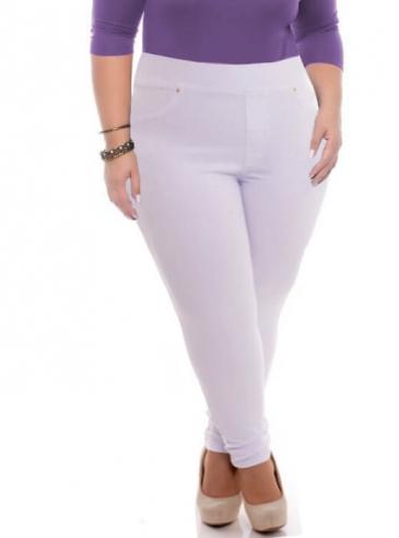 Calça Legging Plus Size Branca