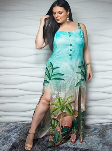 Vestido Longo Plus Size Verde Estampado