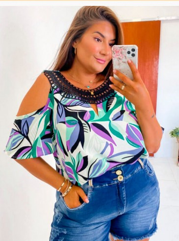 Blusa Ciganinha Estampada Plus Size Bruna