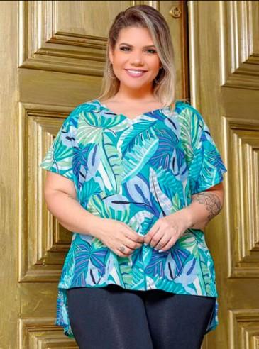 Blusa Plus Size Estampada Turquesa
