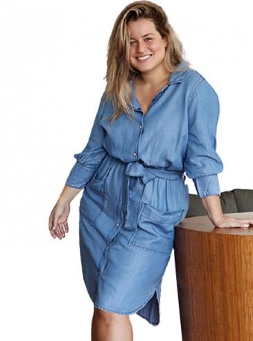 Vestido Jeans Plus Size Chemise Azul Claro