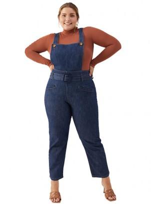 Jardineira Jeans Plus Size Skinny