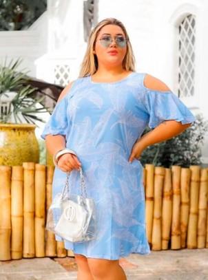 Vestido Plus Size Ciganinha Azul Claro