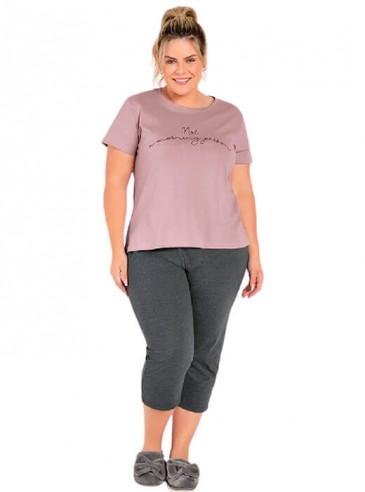 Pijama Plus Size Pantacourt Rosê e Mescla