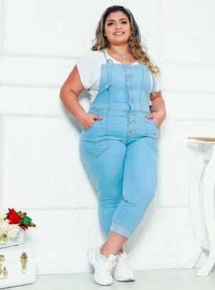 Jardineira Jeans Plus Size Com Lycra Cropped