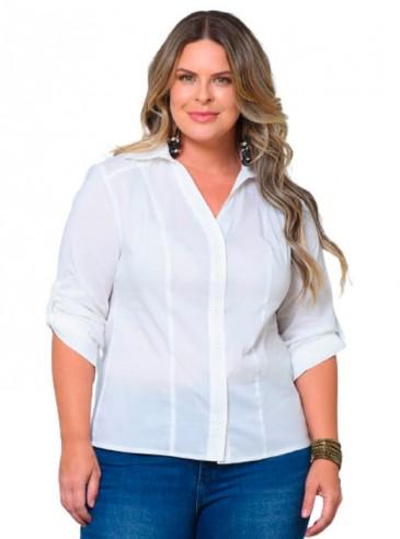 Camisa Plus Size Branca em Tricoline