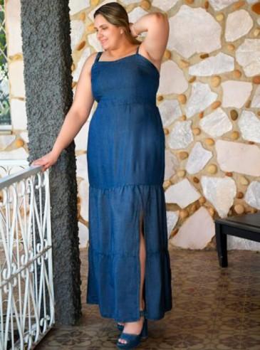 Vestido Longo Plus Size Blue Jeans