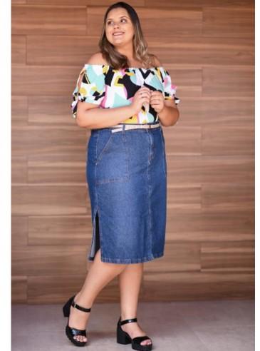 Saia Midi Plus Size Azul Jeans