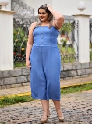 Macacão Plus Size Feminino Pantacourt