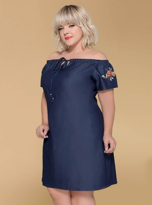 311089fa8207 Vestido Plus Size Jeans Ciganinha | Do44ao54 Moda Plus Size