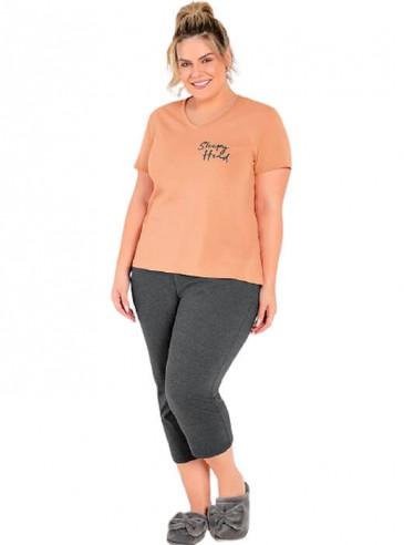 Pijama Plus Size Pantacourt Pêssego e Mescla