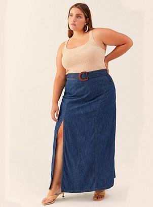 Saia Longa Jeans Plus Size Fenda Lateral