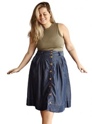 Saia Plus Size Midi Jeans