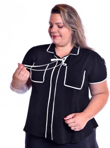 Camisa Plus Size Viscose com Viés