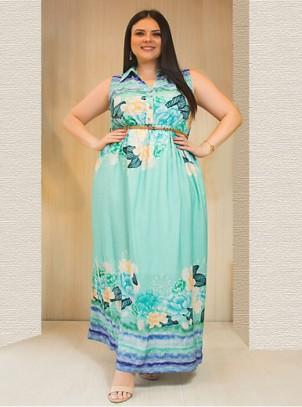 Vestido Longo Plus Size Floral com Cinto