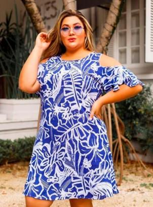 Vestido Plus Size Ciganinha Azul