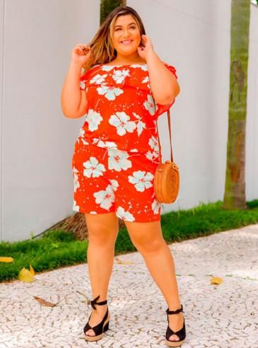 Macaquinho Plus Size Vermelho Ciganinha