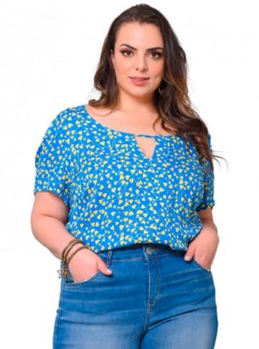Blusa Plus Size em Jacquard de Viscose Azul