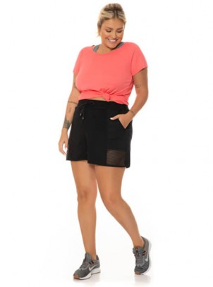 Short Preto Plus Size Academia