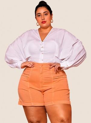 Shorts Feminino Plus Size Jeans Color