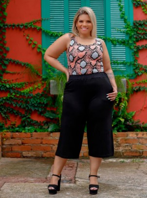 Calça Pantacourt Plus Size Viscolycra