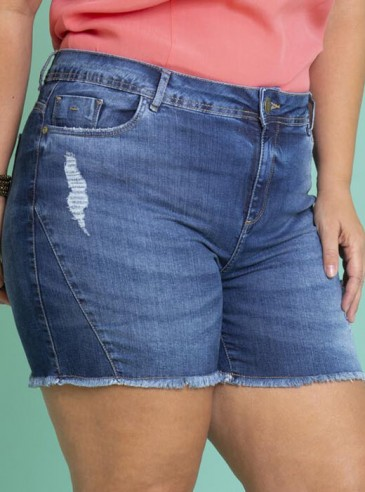 Shorts Plus Size Jeans Recortes