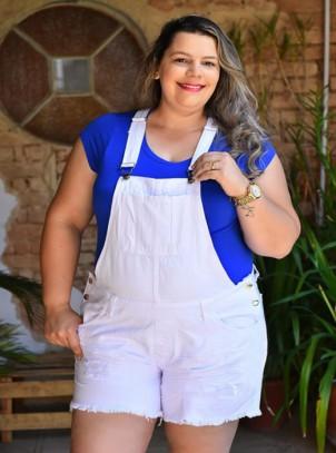 Jardineira Plus Size Branca Destroyed