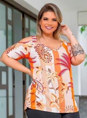 Blusa Plus Size Ciganinha Floral Laranja